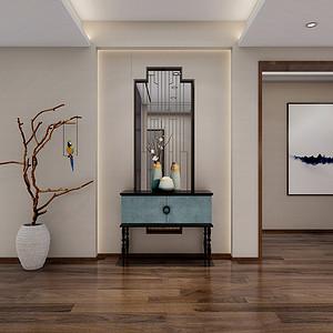 推门而入极具中式特色的玄关造型,将半遮半掩的中式表现手法构建出了精致而不落  俗的空间。