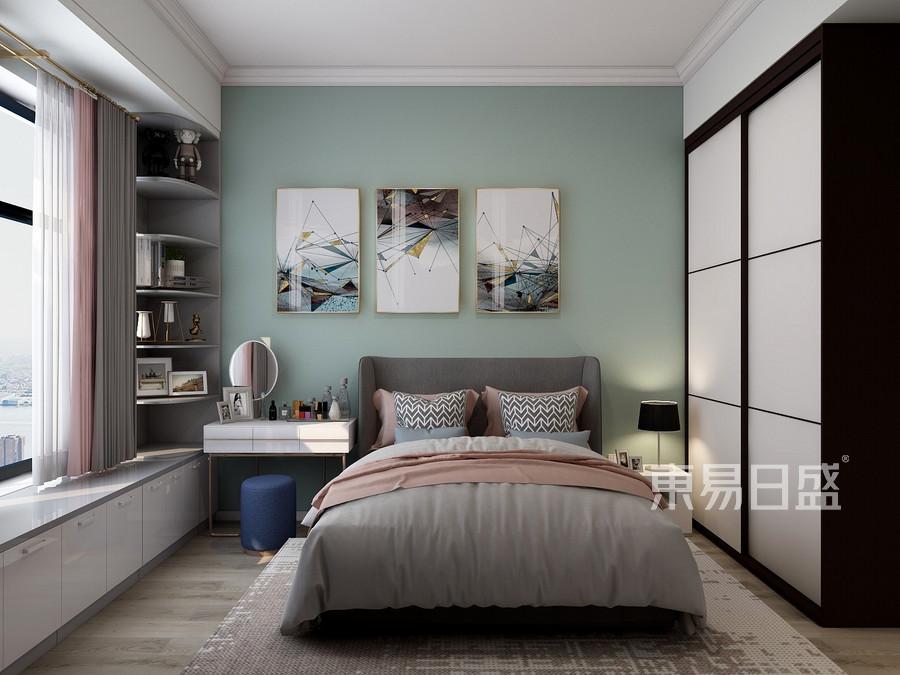 普通住宅-北欧设计案例-卧室装修效果图