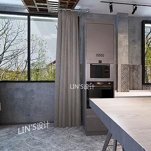 碧桂园工业风风格厨房装修效果图