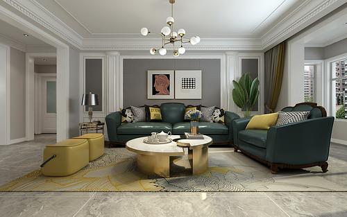 同祥城135平三室两厅美式轻奢装修案例