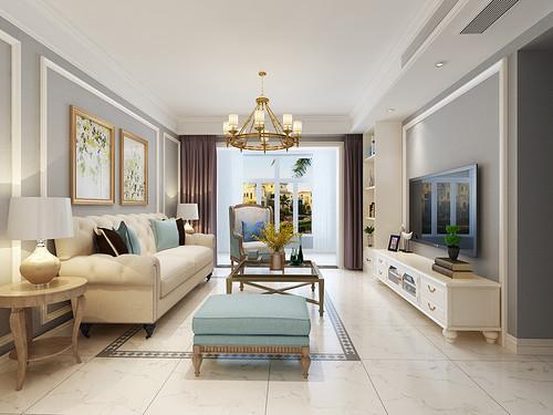 金辉世界城 美式装修效果图 三室两厅一厨一卫 120平米