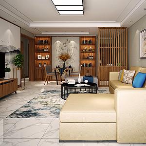 清新明亮的新中式客厅装修风格