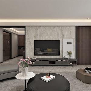 四居室-现代简约-客厅电视背景墙-效果图