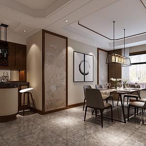 新中式别墅餐厅设计效果图