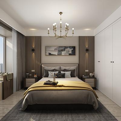 首开国风琅樾三室两厅主卧极简装修效果图