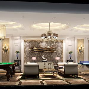 简欧风格别墅桌球活动室装修效果图