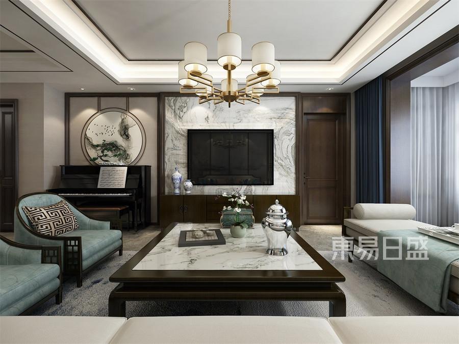 四居室-新中式-客厅电视背景墙-效果图