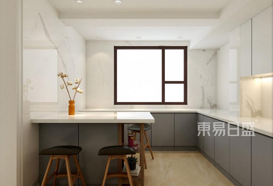 银河国际小区现代美式风格厨房装修效果