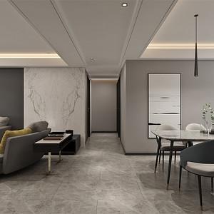 四居室-现代简约-客厅过道-效果图