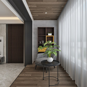 四居室-现代简约-阳台-效果图