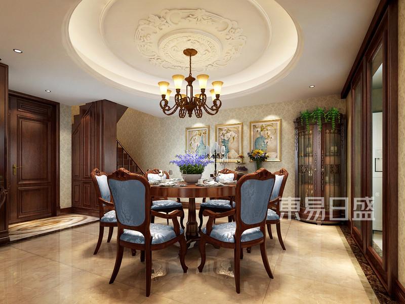 餐厅:餐厅区域圆桌圆顶,与客厅呼应_餐厅效果图大全