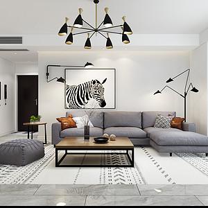 盛邦大都会139平三室二厅现代简约风格装修案例