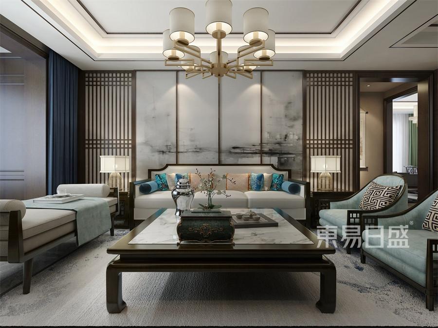 四居室-新中式-客厅沙发背景墙-效果图