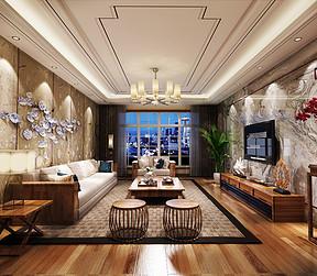 广州南方花园四房新中式客厅装修效果图
