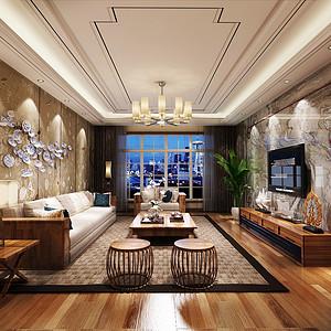 广州南方花园装修案例 150㎡新中式四房二厅装修效果图