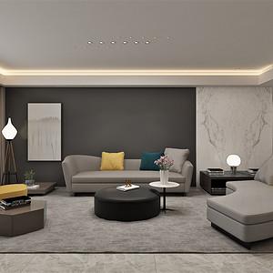 四居室-现代简约-客厅沙发背景墙-效果图