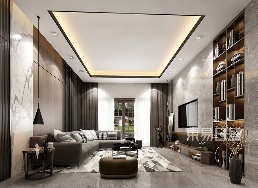 常平紫云雅墅別墅現代極簡客廳裝修效果圖