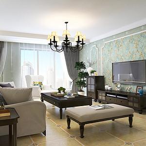 金城珑园-126平米-现代美式风格装修案例效果图