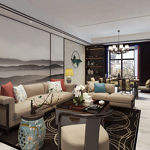 兰州小西湖83.2平米新中式风格客厅