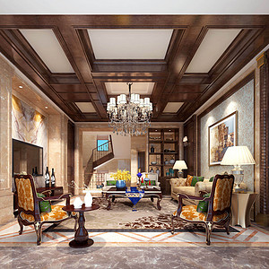 自建别墅-欧式新古典-客厅