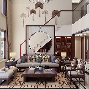紫晶悦城190平跃层新中式风格装修案例