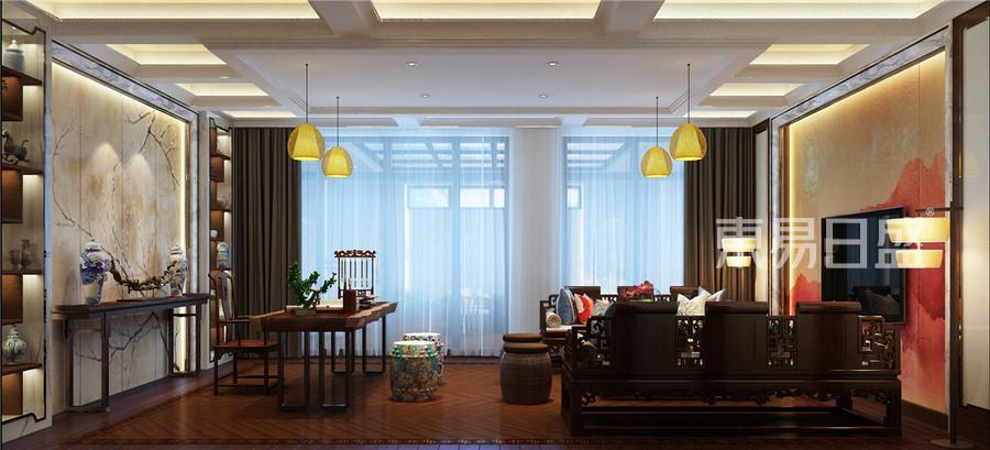 中海八里台新中式风格起居室装修效果图