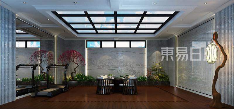 中海八里台新中式风格地下庭院效果图