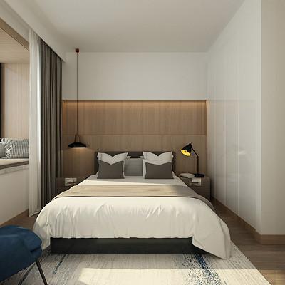 阳光汾河湾现代简约卧室装修效果图