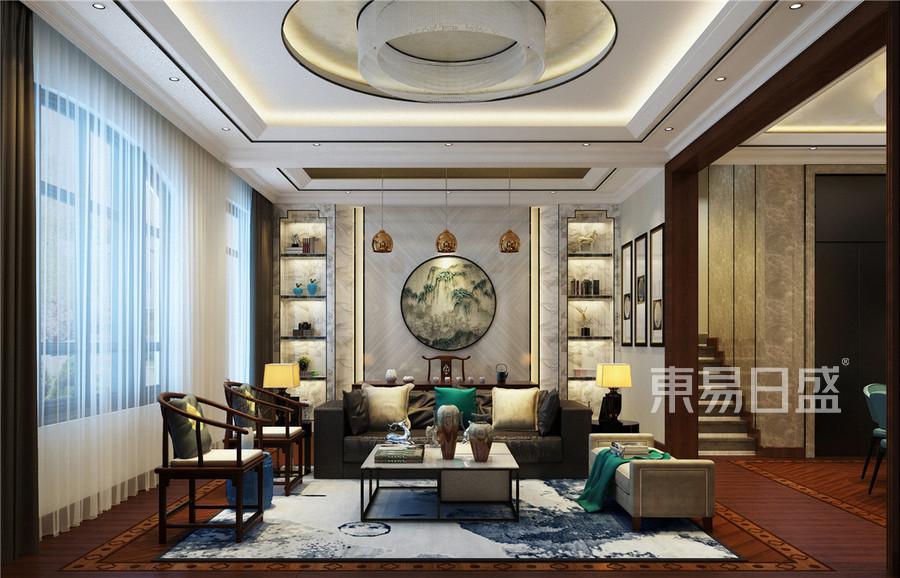 中海八里台新中式风格客厅装修效果图