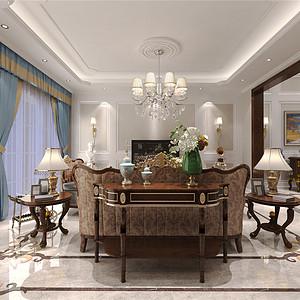 橡树湾新古典风格客厅装修效果图