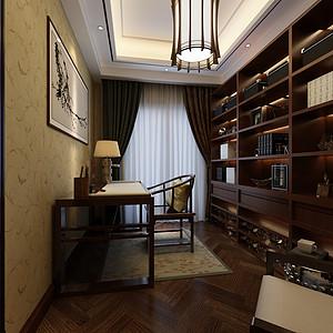 龙盛美墅新中式风格书房