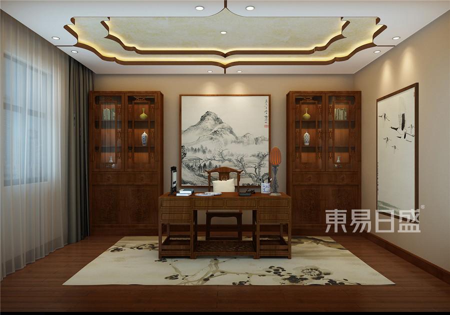 中海八里台新中式风格书房装修效果图