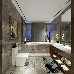 新中式卫生间以灰色调的大理石为主