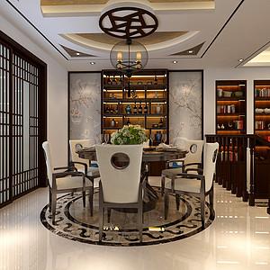 龙盛美墅新中式风格餐厅