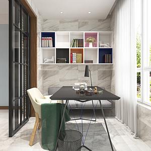 现代简约风格-书房-装修效果图