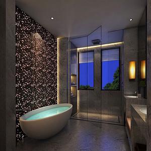 新中式-卫生间-别墅家装效果图