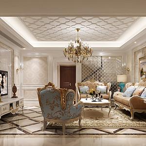 世茂之西湖欧式古典风格客厅效果图