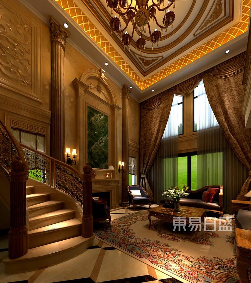 水云间500平欧式风格别墅客厅楼梯区效果图_装修效果