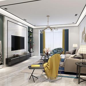 兰州锦绣半岛现代新极简风格客厅