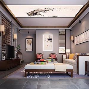 松山湖翡翠松山湖装修效果图-370㎡中式别墅装修案例