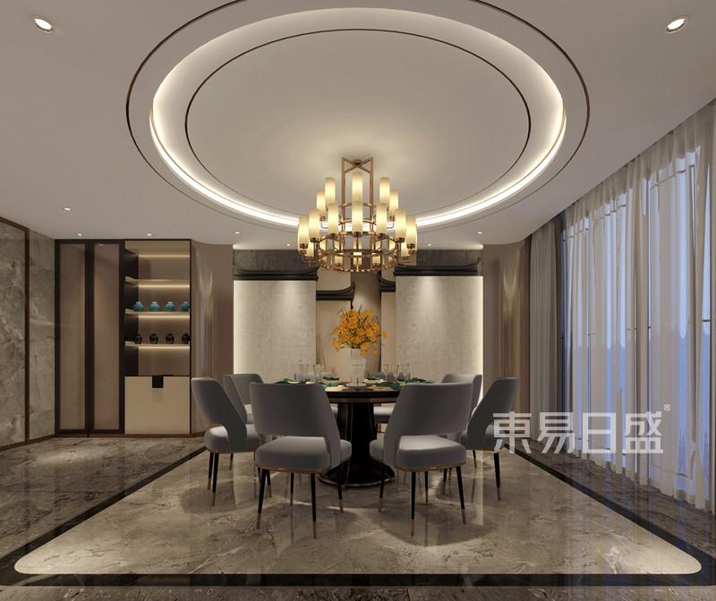 京武浪琴山890平新中式别墅餐厅区域效果图 装修效果图大全2018图片