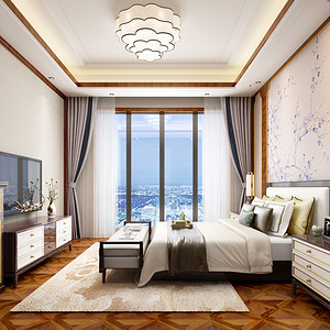 大华西溪400㎡新中式风格卧室效果图