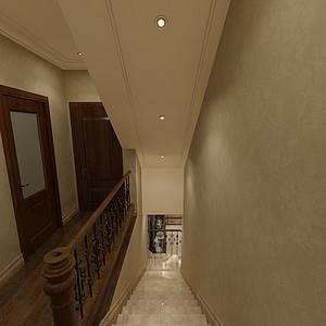华侨城现代美式风格二层楼梯间效果图