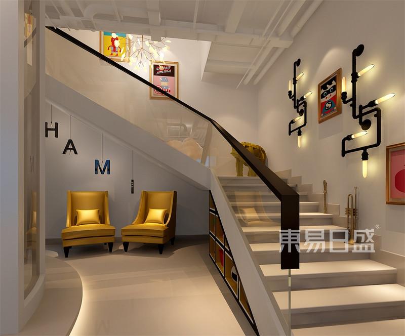 北欧-一层楼梯间效果图_装修效果图大全2018图片