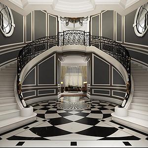 富力津门湖古典风格楼梯间装修效果图