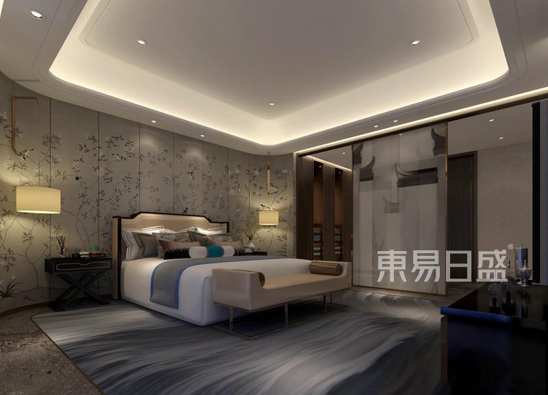 京武浪琴山890平新中式别墅主卧室效果图 装修效果图大全2018图片
