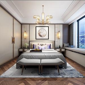 杭州公馆139㎡现代中式风卧室效果图