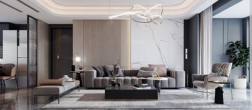 万达悦湖苑140平现代风格四室两厅装修效果图