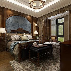 华侨城现代美式风格二层主卧装修效果图