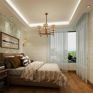 橡树湾 新中式 卧室效果图